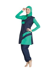 Islamic swimwear Amazon green and navy